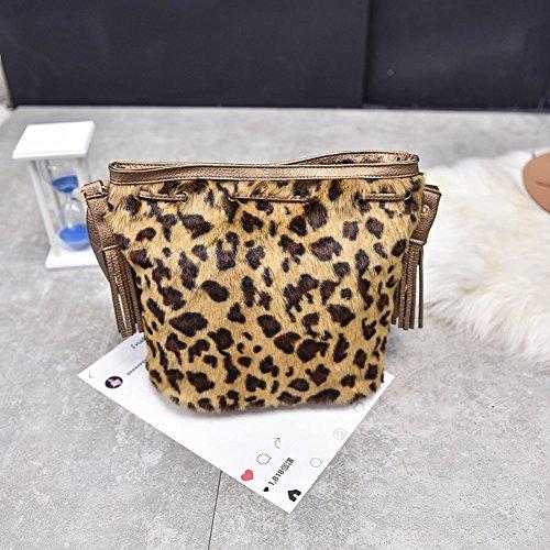 Borsa abbigliamento peluche peluche bucket-type nappa borsa a tracolla diagonale nappa da donna, stampa leopardata
