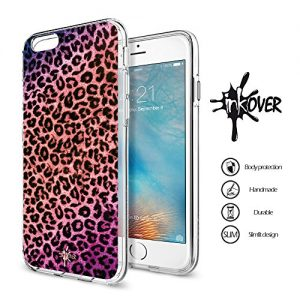 Cover iPhone 6 / 6S - INKOVER - Custodia Cover Protettiva Guscio Soft Case Bumper Trasparente Sottile Slim Fit Tpu Gel Morbida INKOVER Design Leopardata Leopardato Leopard Fashion Donna per APPLE iPhone 6 / 6S