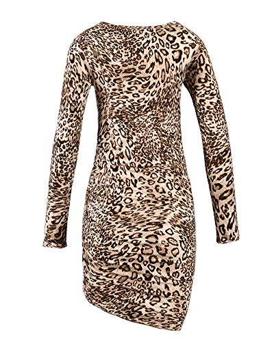 GUOCU Copricostume mare Donna Manica Lunga Vestibilità Slim Stampa Leopardo Vestito Di grandi Dimensioni Orlo Irregolare Boho Spiaggia Breve Mini Abito Leopardato S