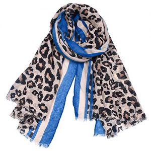 HWJK Sciarpa da Donna Raso Cotone E Lino Leggero Morbido Inverno E Autunno Calda Stampa Leopardata Grande Scialle Lungo da Donna 100 * 180 Cm,1