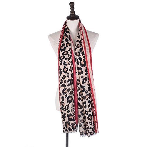 MY Sciarpa in lino satinato Sciarpa con stampa leopardata Donna Autunno Inverno Sciarpa classica per le donne (Color : Red, Size : 100 * 180cm/39 * 70in)