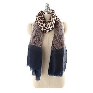 SAFZES Sciarpa da collo per donna New Look Vintage Pizzo con stampa leopardata Banchetto di alta qualità Praty Moda Cotone e lino Sciarpe oversize con grande regalo, blu, 90 x 175 cm