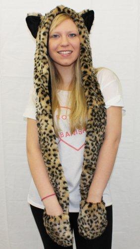 Sciarpa con cappuccio e guanti, con stampa leopardata, tutto in 1, di pelliccia sintetica di qualità, con orecchie e tasche, da donna