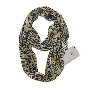 Sichouzhilu Sciarpa in Cotone con Stampa Leopardata da Donna con Tasche Nascoste con Cerniera Nascosta E Sciarpe A Forma di Infinito,Leopardprint