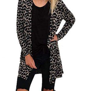 Simple-Fashion Primavera e Autunno Donne Cardigan Moda Leopardato Stampa Outwear Tops Coat Giacca Casual Manica Lunga Basic Cime Cappotto Giacche