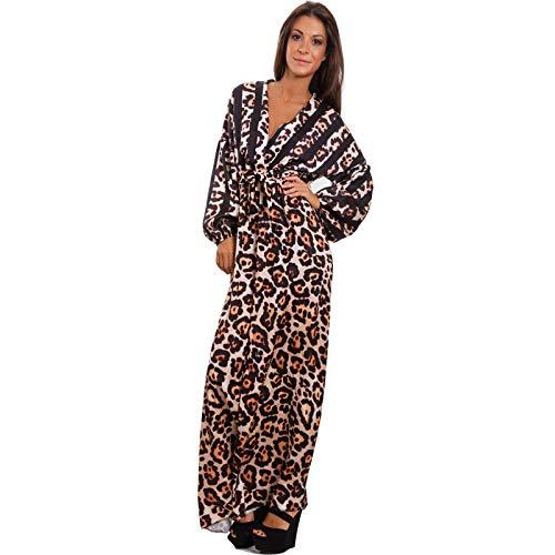 Toocool - Vestito donna scollato leopardato leo animalier elegante abito sexy JL-2766 [Taglia unica,nero]