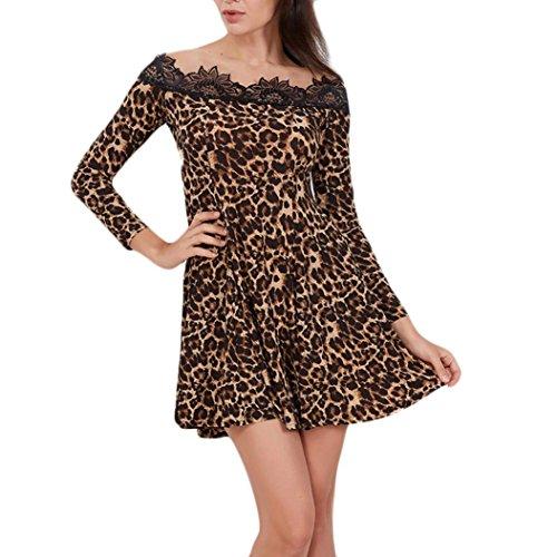 Vestiti donna di Sunshine Mini abito stampa pizzo leopardato Benda Abito Da Festa Con Volant Unita Casual Abiti Lungo Top Ragazza Abiti Vestito Abito Da Sera Partito (M, Caffè)
