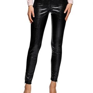 oodji Ultra Donna Leggings con Zip in Fondo e Inserti in Ecopelle